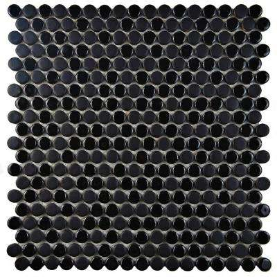 Comet Penny Round Black 11-1/4 in. x 11-3/4 in. x 9 mm Porcelain Mosaic Tile