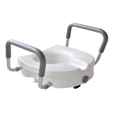 1-Piece Adjustable Elevated Toilet Seat in White Color