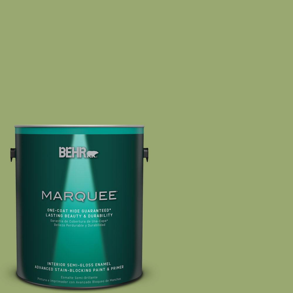 1 gal. #MQ4-43 Green Plaza One-Coat Hide Semi-Gloss Enamel Interior Paint