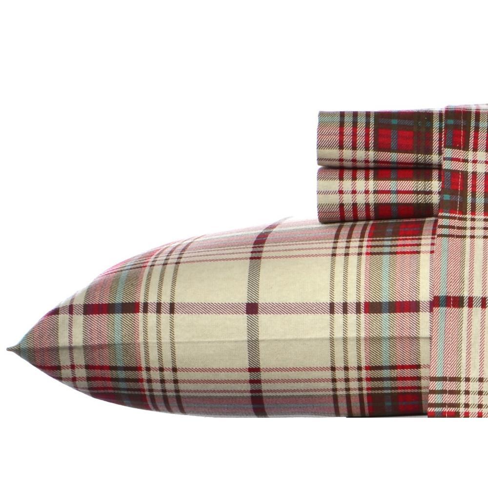 3-Piece Moutlake Plaid Red Flannel Twin Sheet Set