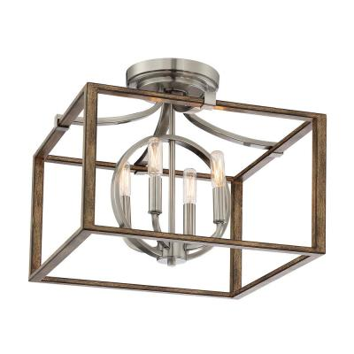 Country Estates 4-Light Sun Faded Wood with Brushed Nickel Semi -Flush Mount
