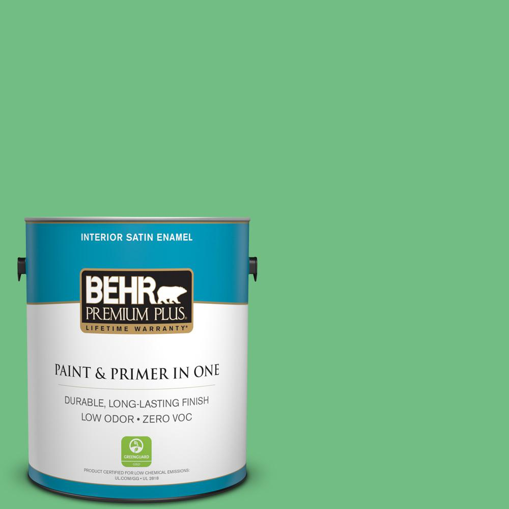 BEHR Premium Plus 1-gal. #P400-5 Winter Shamrock Satin Enamel Interior Paint