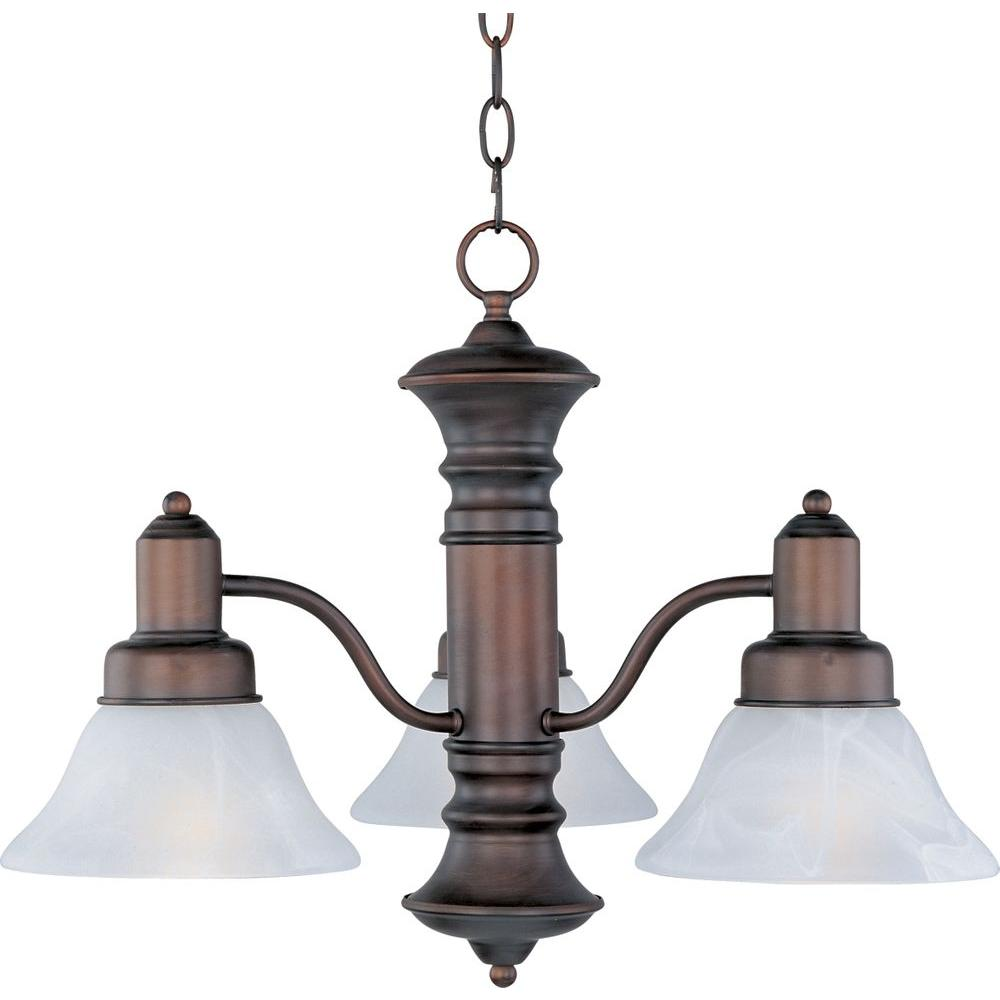 Maxim Lighting Newburg 3 Light Oil Rubbed Bronze Down Chandelier