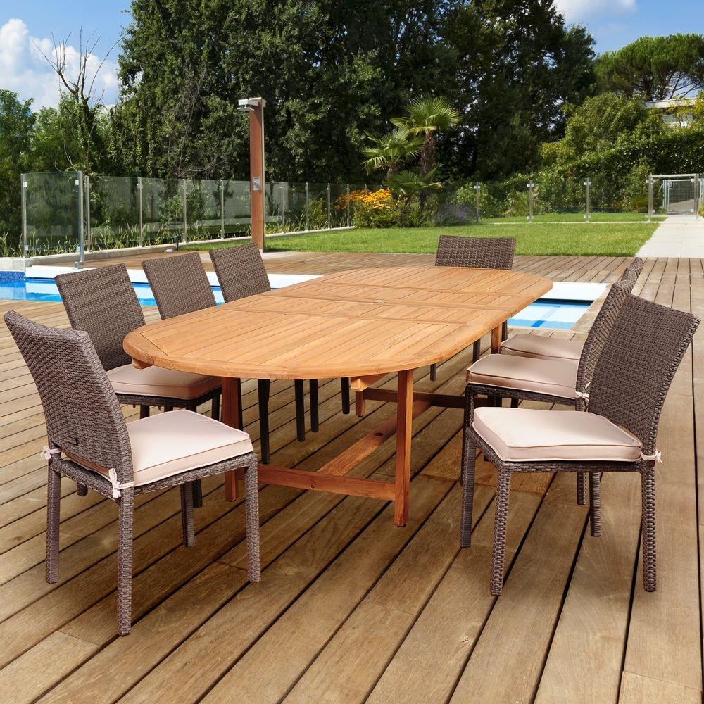 Knight 9-Piece Teak/Wicker Double Extendable Oval Patio Dining Set with