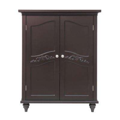 Venice 34 in. H x 27 in. W x 13-3/4 in. D Bathroom Linen Storage Floor Cabinet in Dark Espresso