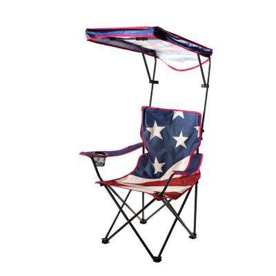 US Flag Folding Camp Chair with Adjustable Sun Shade