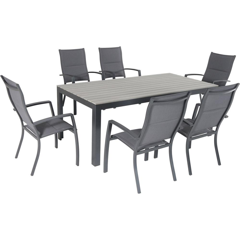 Hanover Tucson 7-Piece Aluminum Outdoor Dining Set With 6