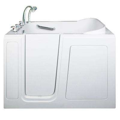 Short 4 ft. x 28 in. Walk-In Air and Hydrotherapy Massage Bathtub in White with Left Drain/Door