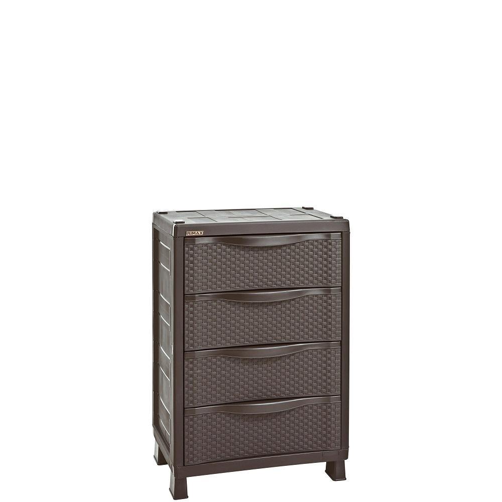 D 4 Drawer Resin Rattan Freestanding Cabinet