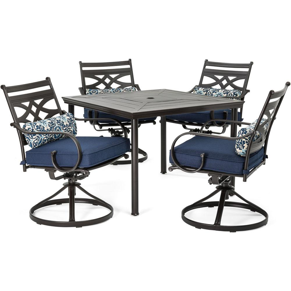 hanover montclair 5 piece metal outdoor dining set with navy blue cushions swivel rockers and. Black Bedroom Furniture Sets. Home Design Ideas