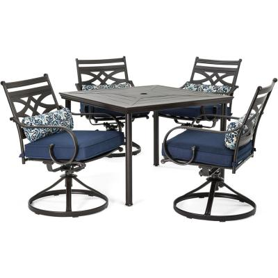 Montclair 5-Piece Metal Outdoor Dining Set with Navy Blue Cushions, Swivel Rockers and Table