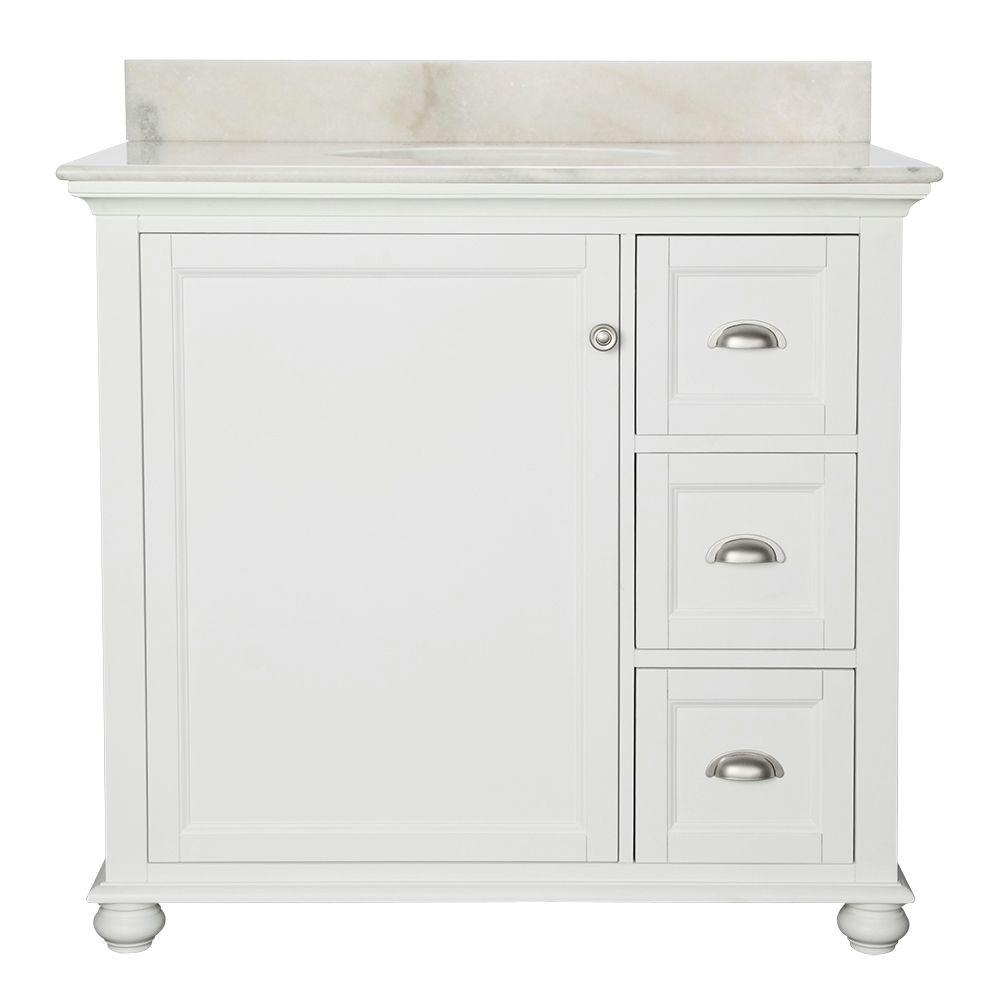 home decorators collection lamport 37 in w x 22 in d bath vanity in white with marble vanity