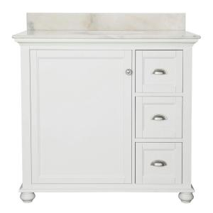 Home Decorators Collection Lamport 37 in.W x 22 inch D Bath Vanity in White with Marble... by Home Decorators Collection