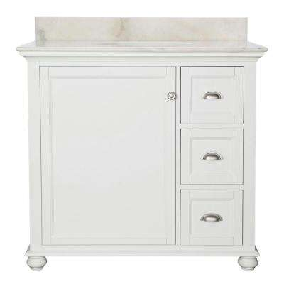 Lamport 37 in.W x 22 in. D Bath Vanity in White with Marble Vanity Top in White