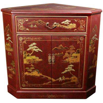Oriental Furniture Red Lacquer Japanese Landscape Corner Cabinet
