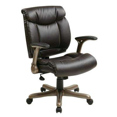 Executive Bonded Leather Chair in Cocoa with Padded Arms and Coated Base