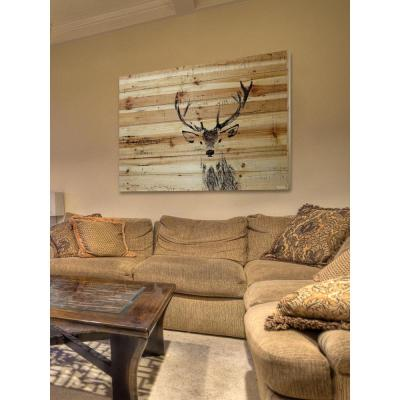 "30 in. H x 45 in. W ""Inquisitive Deer"" by Parvez Taj Printed Natural Pine Wood Wall Art"