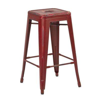 Bristow 26 in. Antique Red Metal Barstools (2-Pack)
