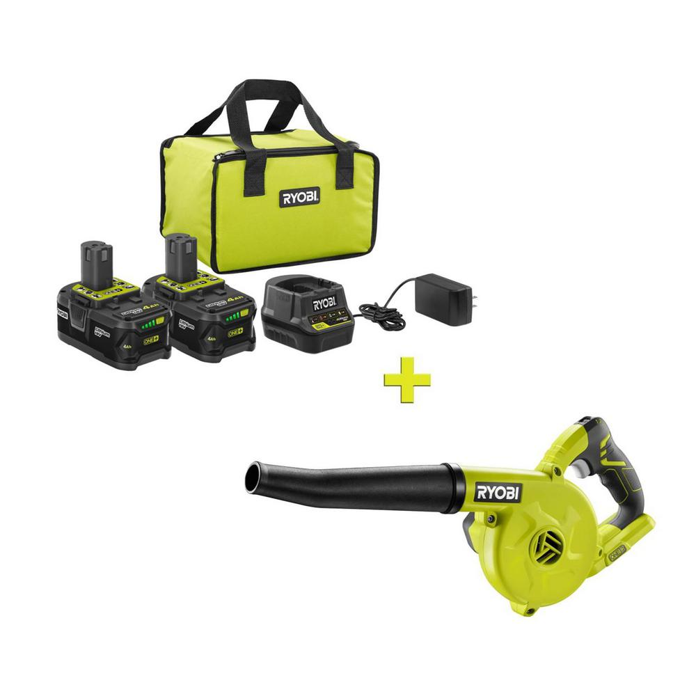 RYOBI 18-Volt ONE+ High Capacity 4.0 Ah Battery (2-Pack) Starter Kit with Charger and Bag with FREE ONE+ Compact Blower was $276.97 now $99.0 (64.0% off)