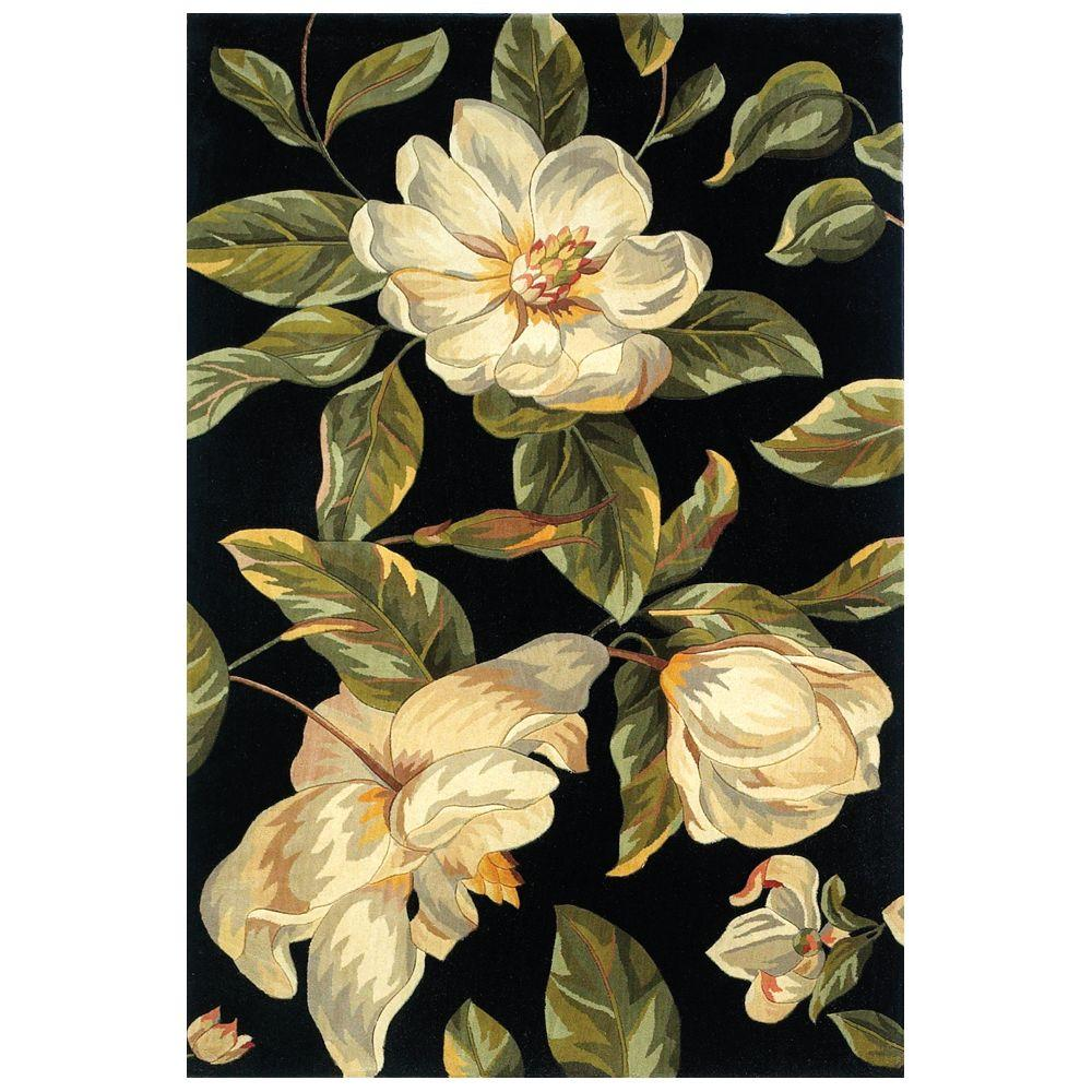 Kas Rugs Southern Magnolia Black 7 ft. 9 in. x 10 ft. 6 in. Area Rug