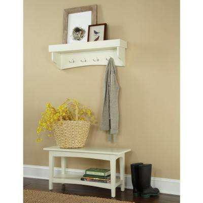 Shaker Cottage Ivory Coat Hook with Bench
