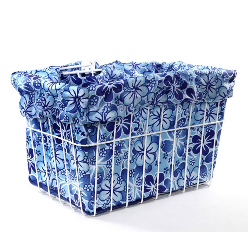 Blue Hawaiian Hibiscus Bicycle Basket Liner
