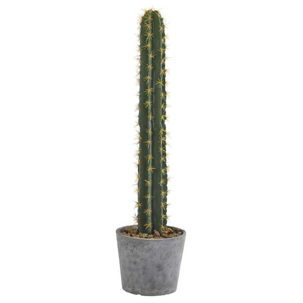 Nearly Natural 41 in. Cactus in Stone Planter Artificial Plant 4589