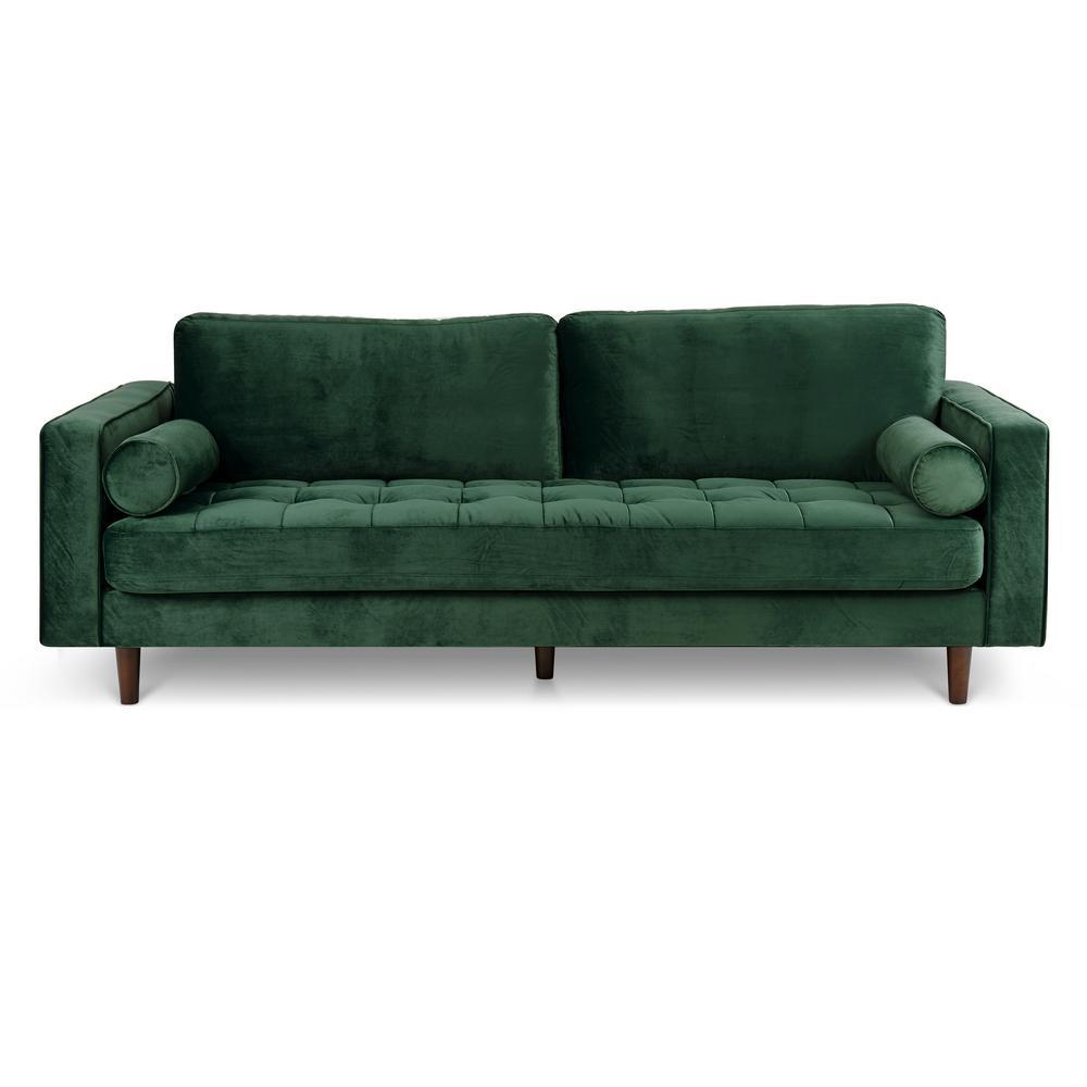 Poly and Bark Inga Hunter Green Velvet Sofa HD-349-HRGN - The Home Depot
