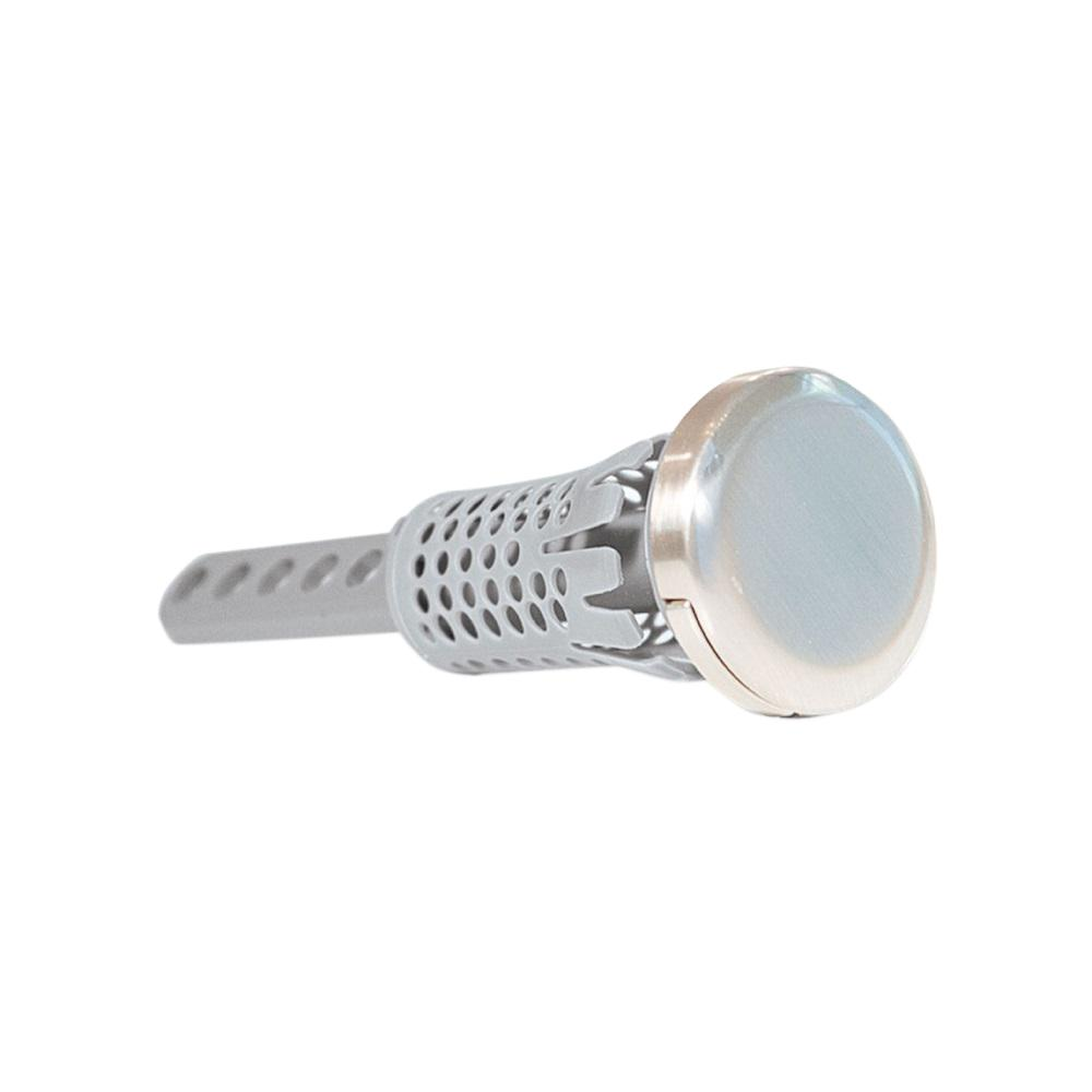 Drain Strain Never-Clog 2 in. Universal Pop Up Stopper in Brush Nickel