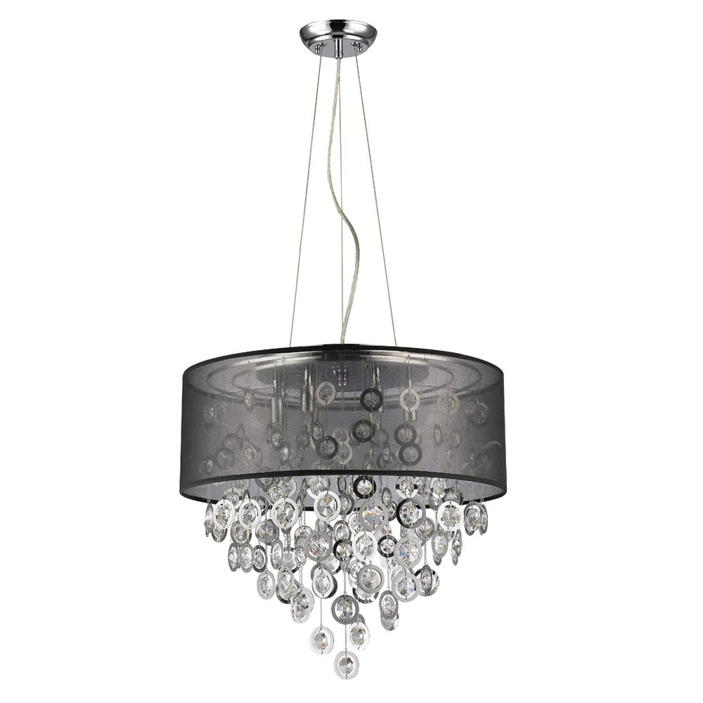 Acclaim Lighting Florence 6 Light Polished Nickel Drum Pendant With Black Shade And Cascading Crystal
