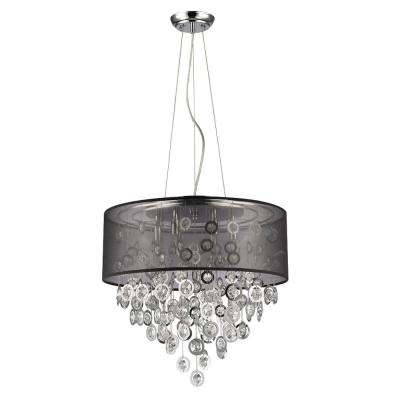 Florence 6-Light Polished Nickel Drum Pendant with Black Shade and Cascading Crystal Adorned Rings