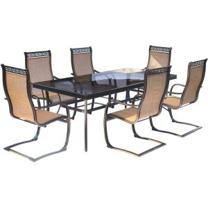 Hanover Monaco 7-Piece Aluminum Outdoor Dining Set with Rectangular Glass-Top Table and... by Hanover
