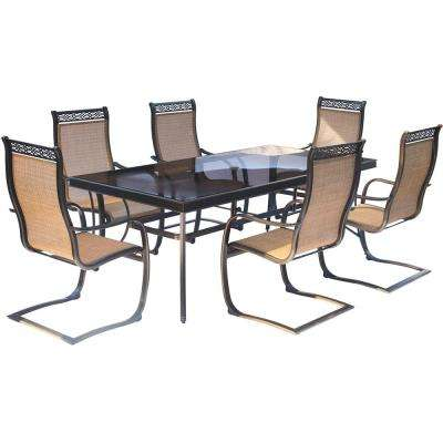 Monaco 7-Piece Aluminum Outdoor Dining Set with Rectangular Glass-Top Table and Contoured Sling Spring Chairs