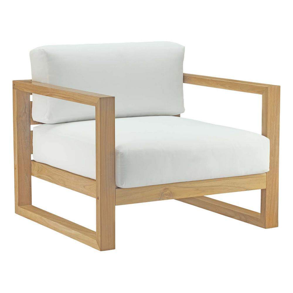 MODWAY Upland Outdoor Patio Teak Lounge Chair in Natural with White Cushions - MODWAY Upland Outdoor Patio Teak Lounge Chair In Natural With White