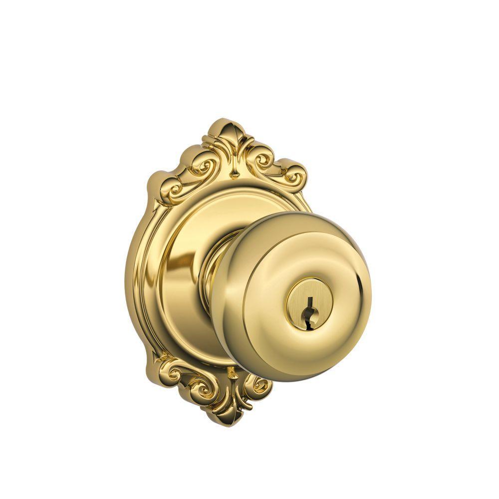 Georgian Bright Brass Keyed Entry Door Knob with Brookshire Trim