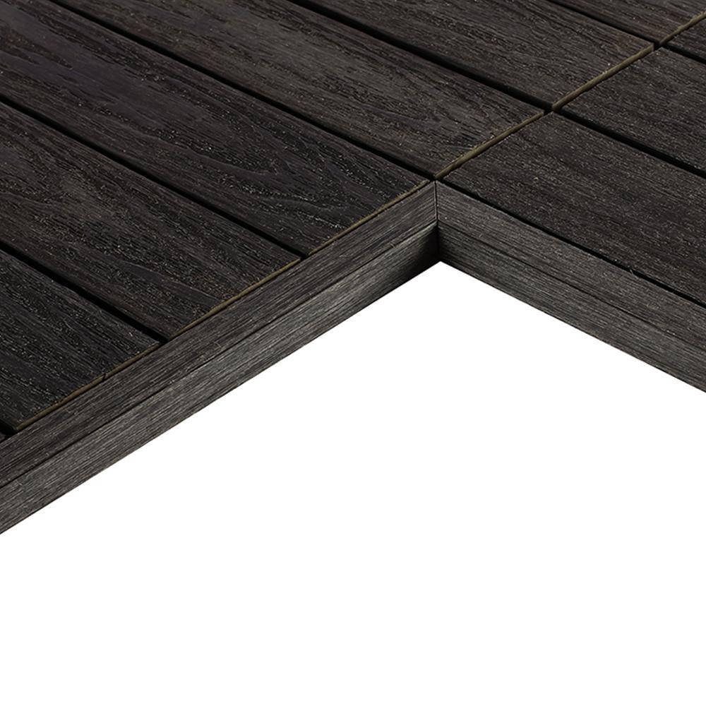 1/6 ft. x 1 ft. Quick Deck Composite Deck Tile Inside End Corner in Hawaiian Charcoal (2-Pieces/box)