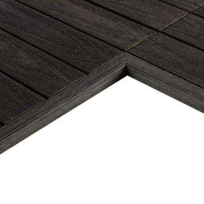 1/6 ft. x 1 ft. Quick Deck Composite Deck Tile Inside End Corner in Hawaiian Charcoal (2-Pieces/box)
