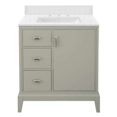 Shaelyn 31 in. W x 22 in. D Bath Vanity in Sage Green LH with Engineered Marble Vanity Top in Snowstorm with White Sink