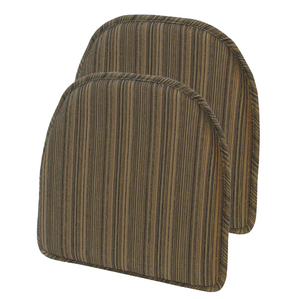 Gripper Non-Slip 15 in. x 16 in. Harmony Chocolate Stripe Chair