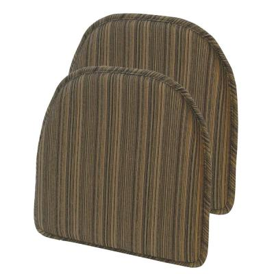 Gripper Non-Slip 15 in. x 16 in. Harmony Chocolate Stripe Chair Cushions (Set of 2)