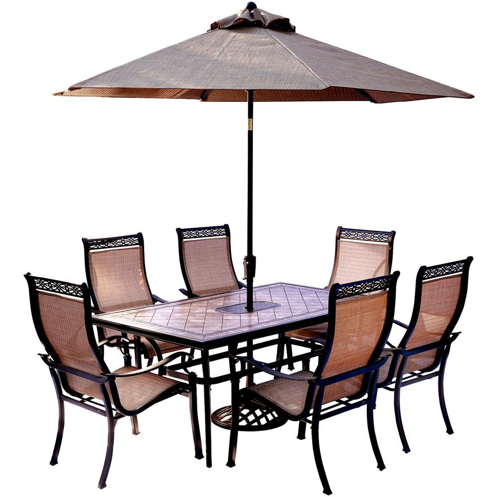 Hanover 7 Piece Outdoor Dining Set With Rectangular Tile Top Table And Contoured Sling Stationary Chairs Umbrella Base