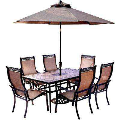 7-Piece Outdoor Dining Set with Rectangular Tile-Top Table and Contoured Sling Stationary Chairs, Umbrella and Base