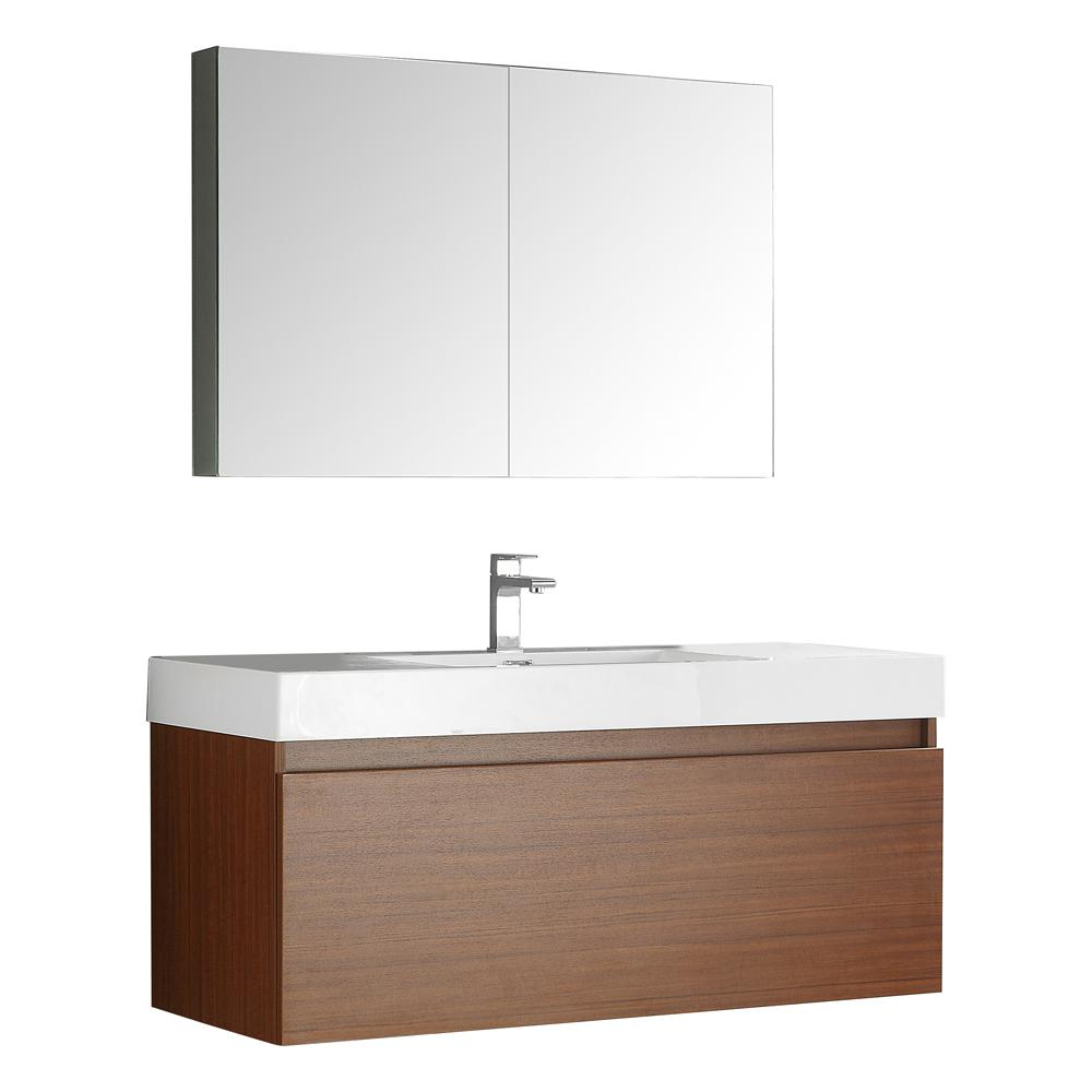 Fresca Mezzo 48 in. Vanity in Teak with Acrylic Vanity Top in White with White Basin and Mirrored Medicine Cabinet