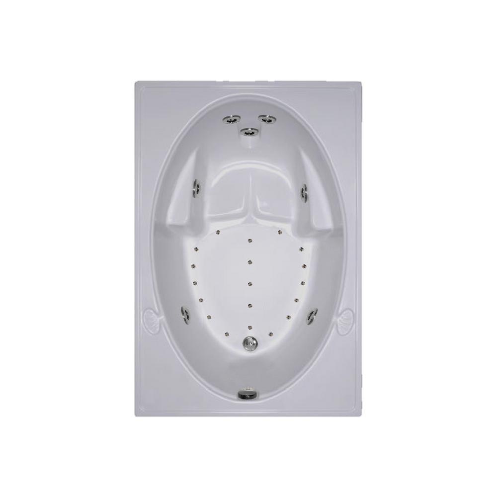 60 in. Acrylic Rectangular Drop-in Combination Bathtub in Biscuit