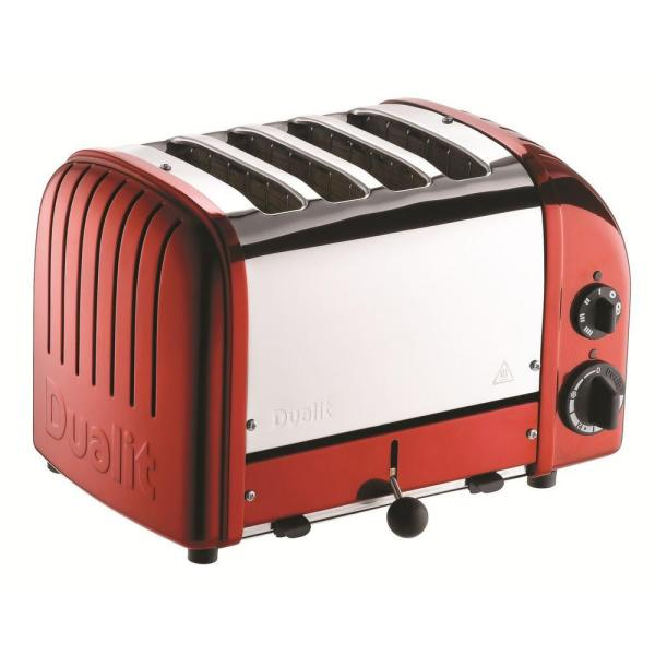 Dualit New Gen 4-Slice Apple Candy Red Wide Slot Toaster with Cool-Touch Exterior