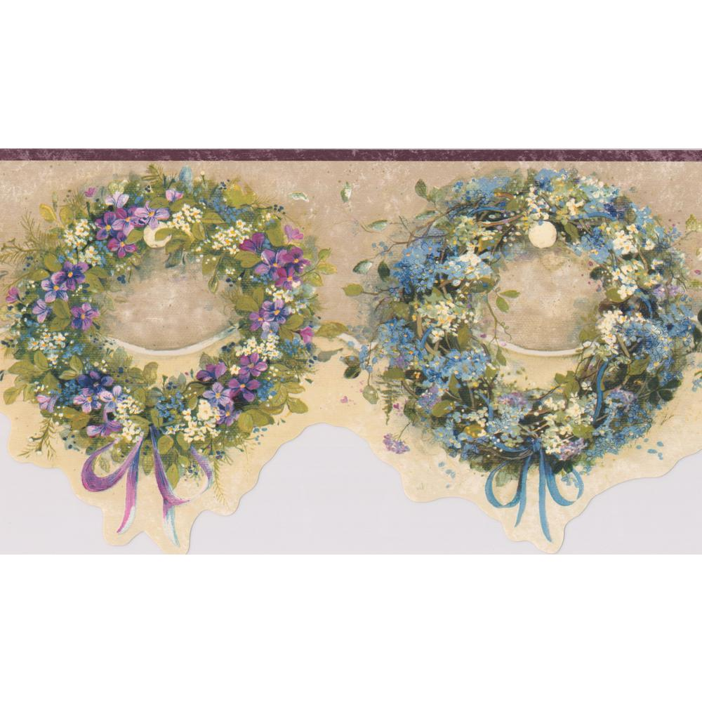 Chesapeake Blue Pink Purple Wreaths Floral Prepasted Wallpaper