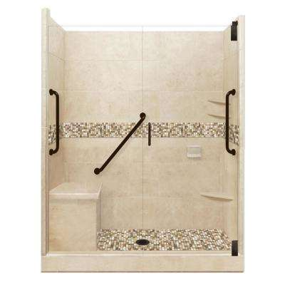 Roma Freedom Grand Hinged 32 in. x 60 in. x 80 in. Center Drain Alcove Shower Kit in Brown Sugar and Old Bronze Hardware