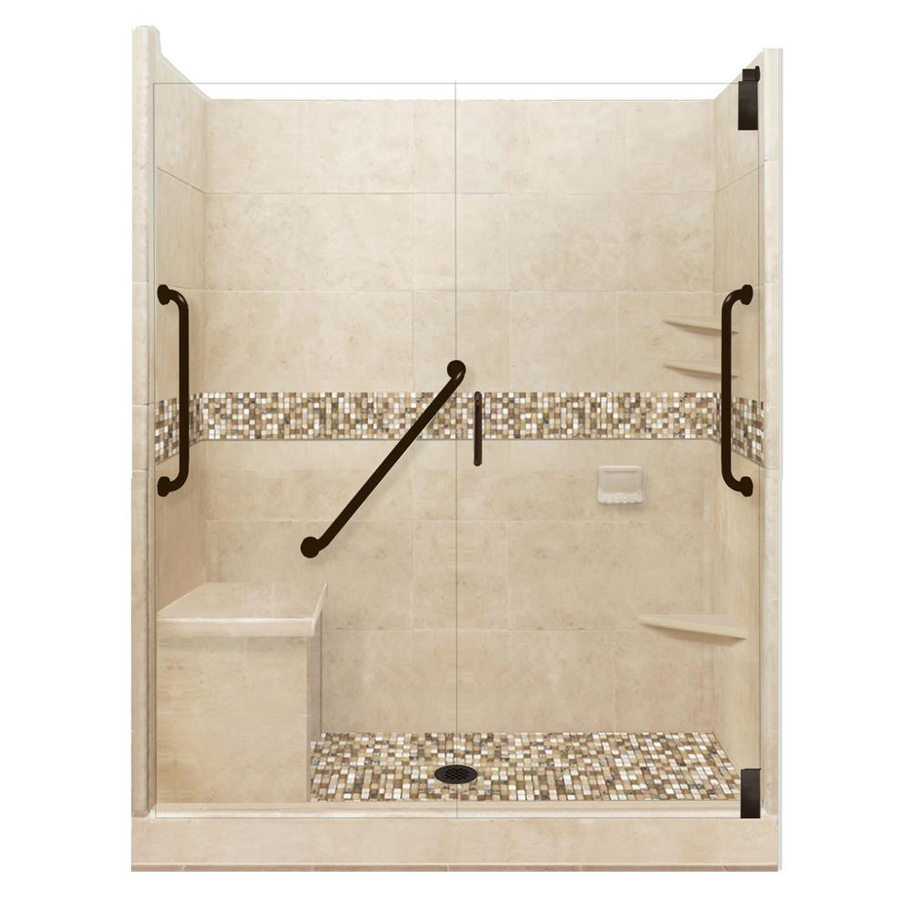 American Bath Factory Roma Freedom Grand Hinged 34 in. x 60 in. x 80 in. Center Drain Alcove Shower Kit in Brown Sugar and Old Bronze Hardware