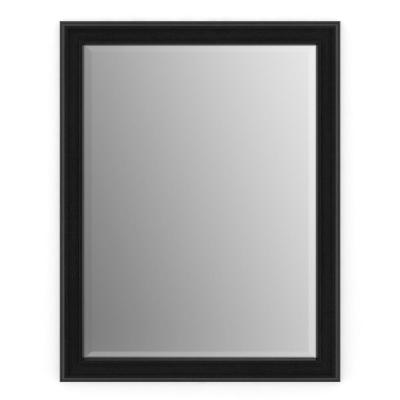 23 in. W x 33 in. H (S2) Framed Rectangular Deluxe Glass Bathroom Vanity Mirror in Matte Black