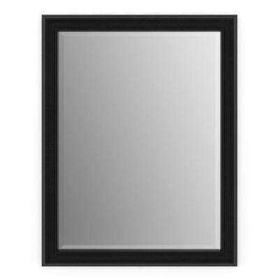 23 in. x 33 in. (S2) Rectangular Framed Mirror with Deluxe Glass and Flush Mount Hardware in Matte Black